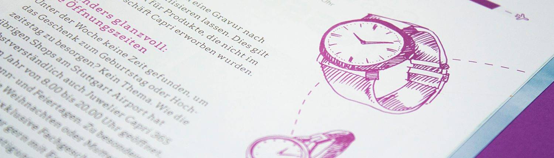 Handgezeichnete Illustrationen im Kundenmagazin