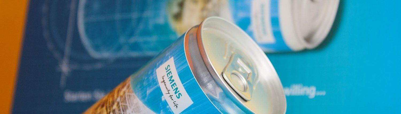 Einladungsbox mit Energy Drink für das Einladungskonzept für Siemens
